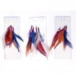 3 x Packs of 4 Hook Coloured Mackerel Feathers