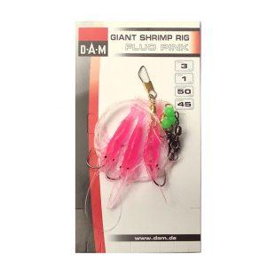 DAM 3 Hook Giant Fluo Pink Shrimp Rig