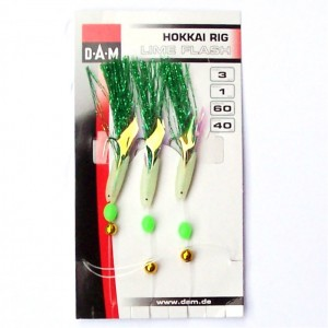 DAM 3 Hook Lime Flash Hokkai Rig